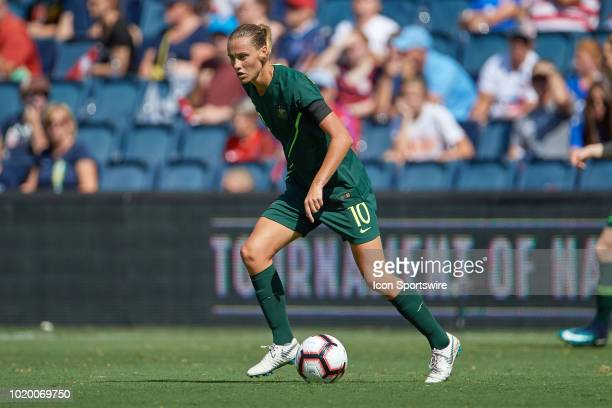 Australia midfielder Emily Van Egmond dribbles the ball in game action during a Tournament of Nations match between Brazil vs Australia on July 26...