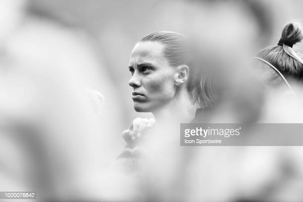 Australia midfielder Emily Van Egmond looks on during the national anthem prior to the start of game action during a Tournament of Nations match...