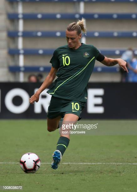 Australia midfielder Emily Van Egmond sends the ball downfield in the first half of a women's soccer match between Brazil and Australia in the 2018...