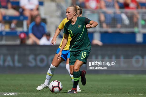 Australia midfielder Tameka Butt dribbles the ball in game action during a Tournament of Nations match between Brazil vs Australia on July 26 2018 at...