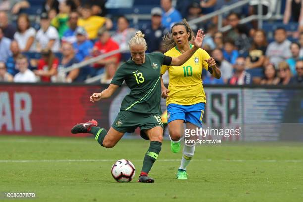 Australia midfielder Tameka Butt in the first half of a women's soccer match between Brazil and Australia in the 2018 Tournament of Nations on July...