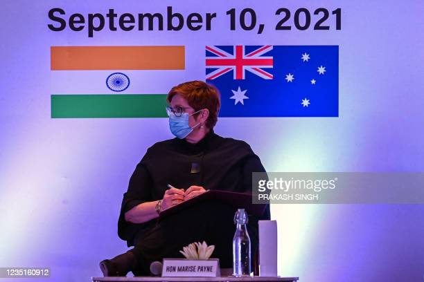 """Australia Minister for Foreign Affairs and Minister for Women Marise Payne listens to a speaker before delivering the keynote """"Third Indo-Pacific..."""