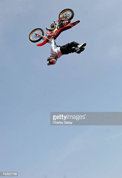 Australia motorcyclist Robbie Maddison performs a stunt jumping over the red carpet at the 7th Annual Taurus World Stunt Awards at Paramount Pictures...