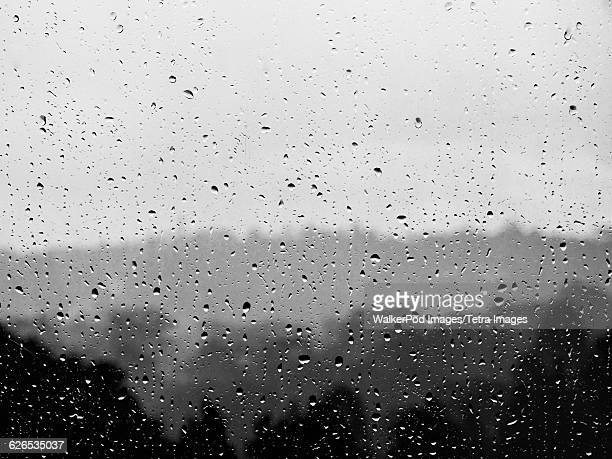 Australia, New South Wales, Blue Mountains, Raindrops on glass