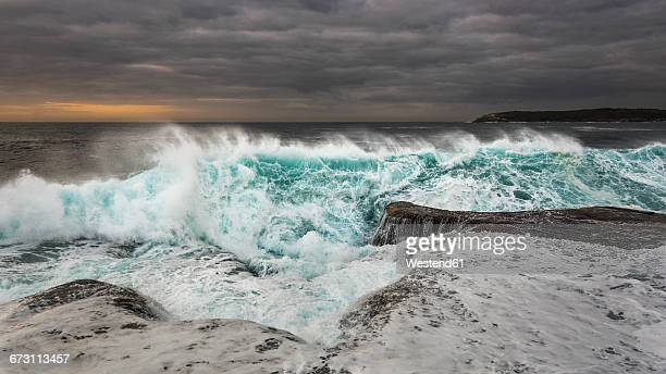 Australia, New South Wales, Maroubra, coast, stormy, waves in the evening