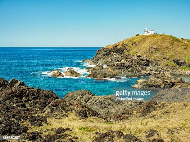 Australia, New South Wales, Port Macquarie, Lighthouse on rocky coat