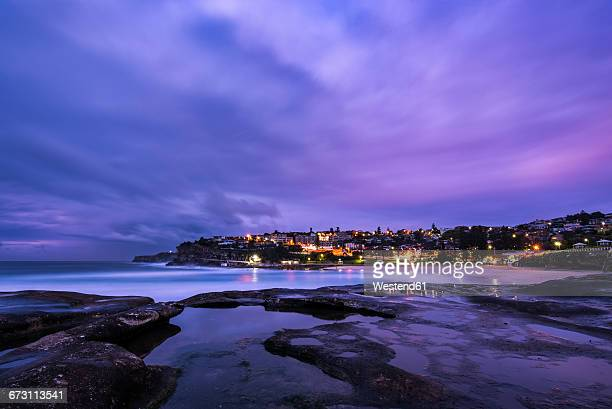 Australia, New South Wales, Sydney, Bronte beach and Coogee in the background in the evening