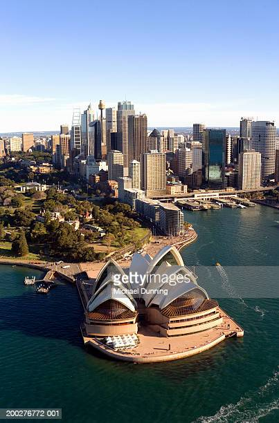 australia, new south wales, sydney harbour, aerial view - sydney opera house stock pictures, royalty-free photos & images