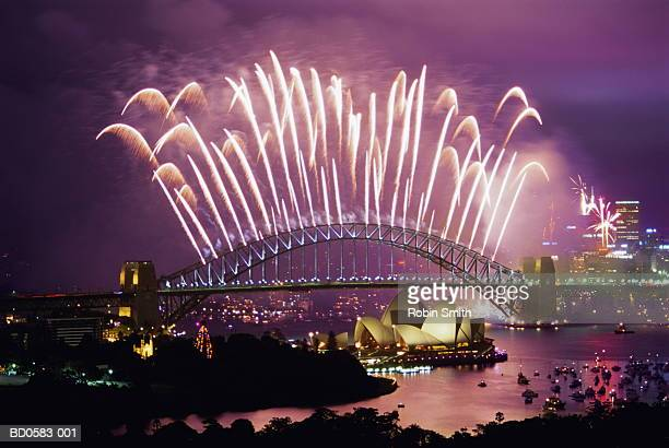 Australia, New South Wales, Sydney, Harbour Bridge, New Year fireworks