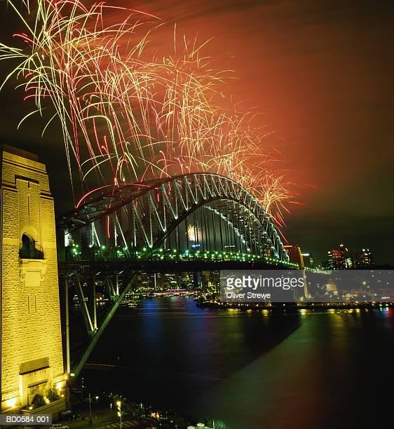 australia, new south wales, sydney, harbour bridge, new year fireworks - 1999 bildbanksfoton och bilder