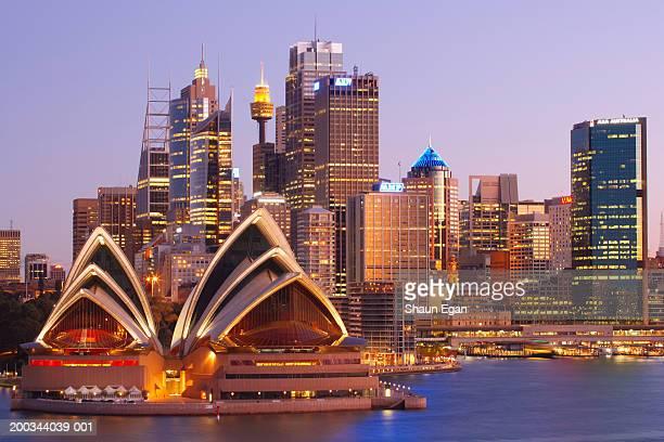Australia, New South Wales, Sydney, Opera House and city skyline,dusk