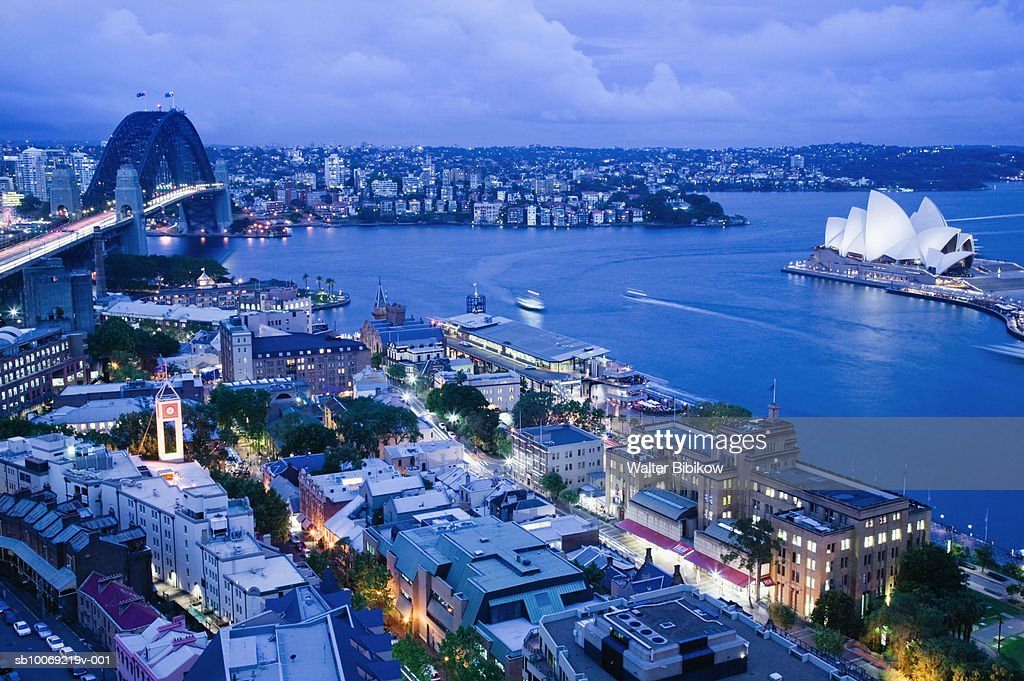 Australia, New South Wales, Sydney, Sydney harbour, Sydney Bridge and Opera House : Stockfoto