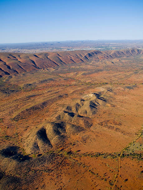 Australia, Northern Territory, Alice Springs, East McDonnell Ranges and Alice Springs, Terrain landscape, aerial view