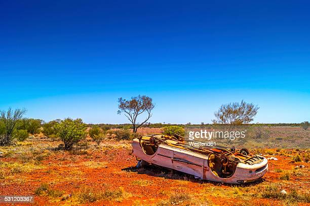 Australia, Northern Territory, junk car in the outback