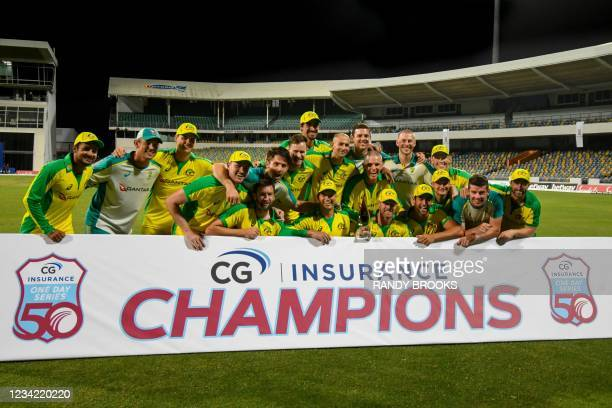 Australia ODI team poses for a photo after winning the 3rd and final ODI between West Indies and Australia at Kensington Oval, Bridgetown, Barbados,...