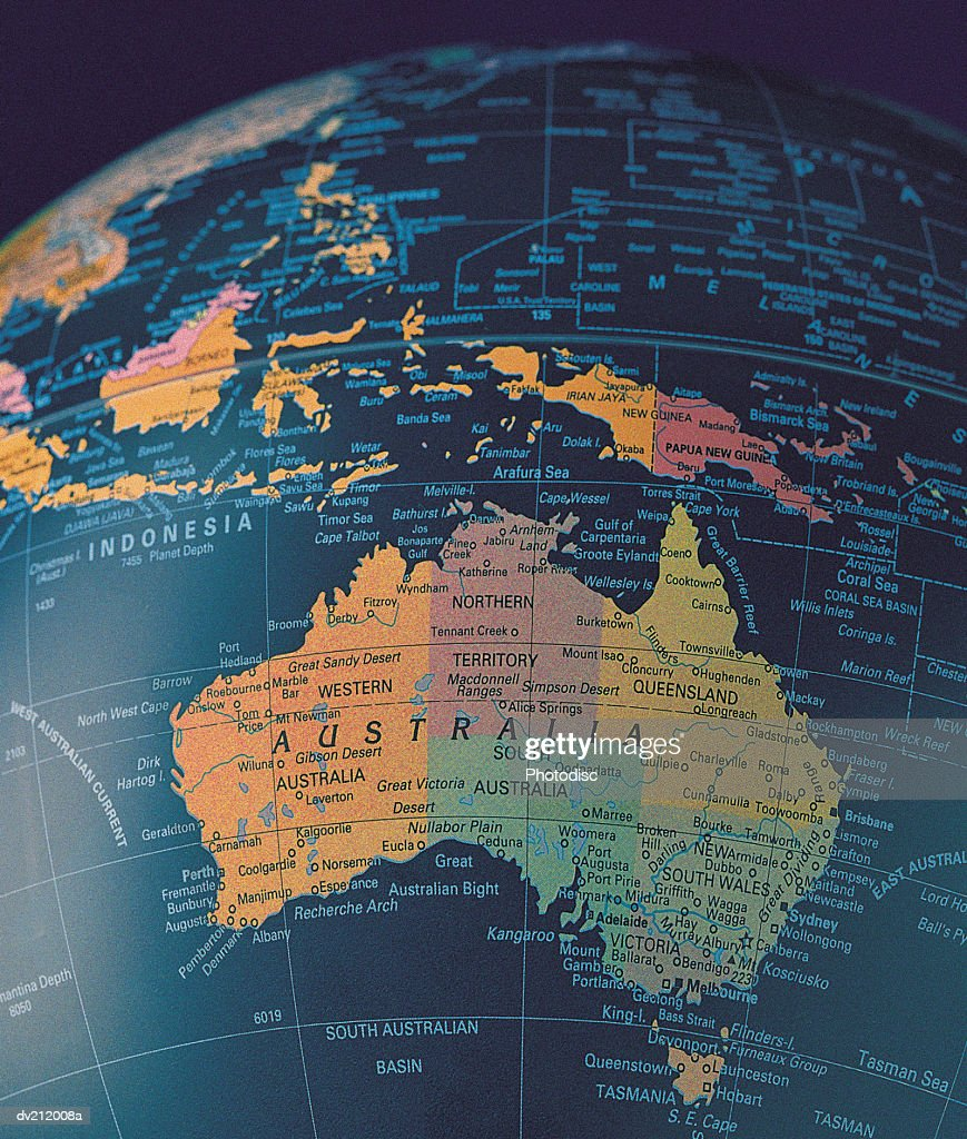 Australia on portion of globe : Stock Photo