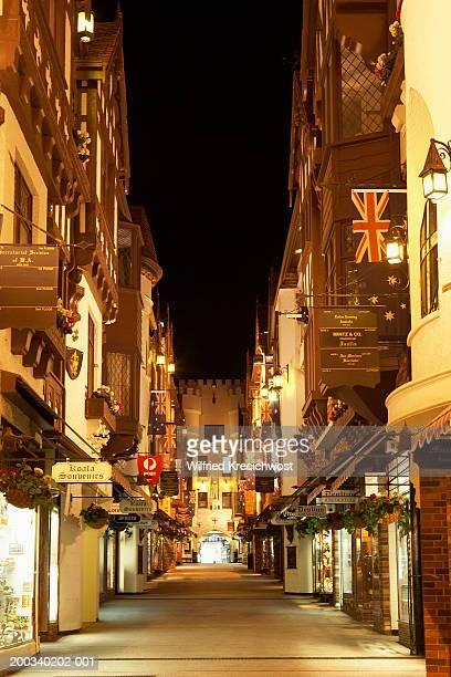 Australia, Perth, open air shopping arcade, illuminated, night