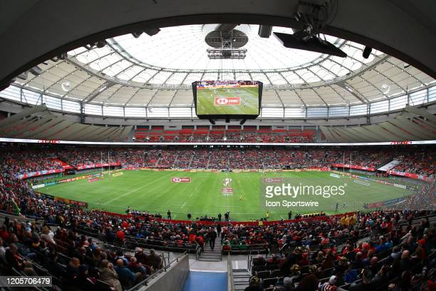 Australia play Samoa during their group match on day 1 of the Canada Rugby Sevens competition at BC Place Stadium on March 7, 2020 in Vancouver,...