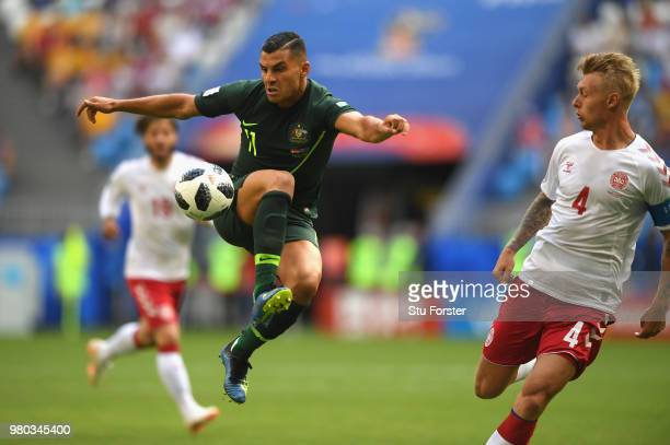 Australia player Andrew Nabbout in action during the 2018 FIFA World Cup Russia group C match between Denmark and Australia at Samara Arena on June...