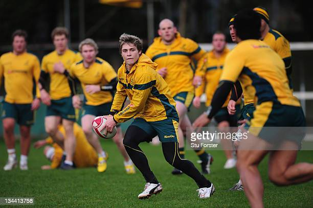 Australia player James O' Connor in action as the Wallabies warm up for saturdays test match against Wales with a training session at the Ospreys...
