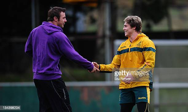 Australia player James O' Connor meets up with Ospreys and Ireland winger Tommy Bowe as the Wallabies warm up for saturdays test match against Wales...