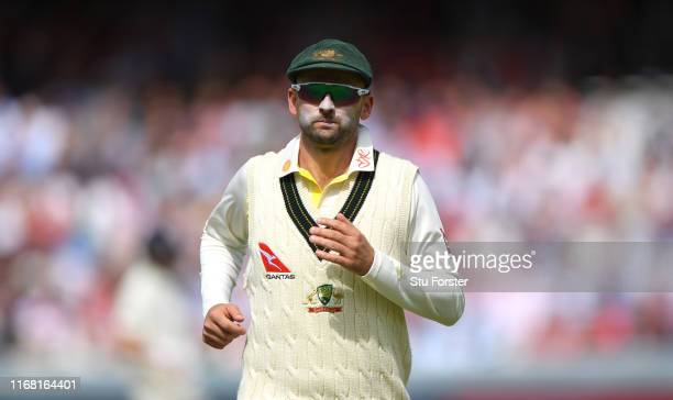 Australia player Nathan Lyon pictured with the Ruth Strauss Foundation logo displayed on his shirt collar during Day two of the 2nd Test Match...
