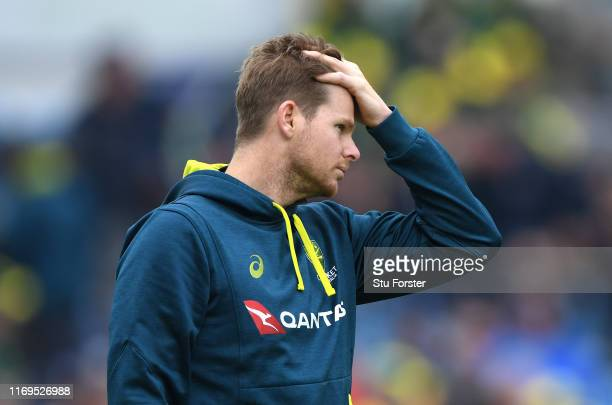 Australia player Steve Smith reacts before day one of the 3rd Ashes Test match between England and Australia at Headingley on August 22 2019 in Leeds...