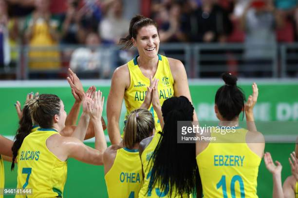 Australia players applaud Belinda Snell as they celebrate victory in the Women's Gold Medal Game on day 10 of the Gold Coast 2018 Commonwealth Games...