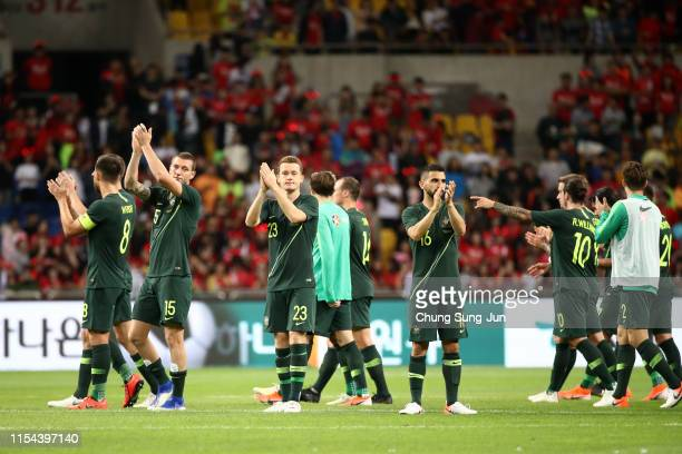 Australia players applaud fans after the international friendly match between South Korea and Australia at Busan Asiad Main Stadium on June 7, 2019...