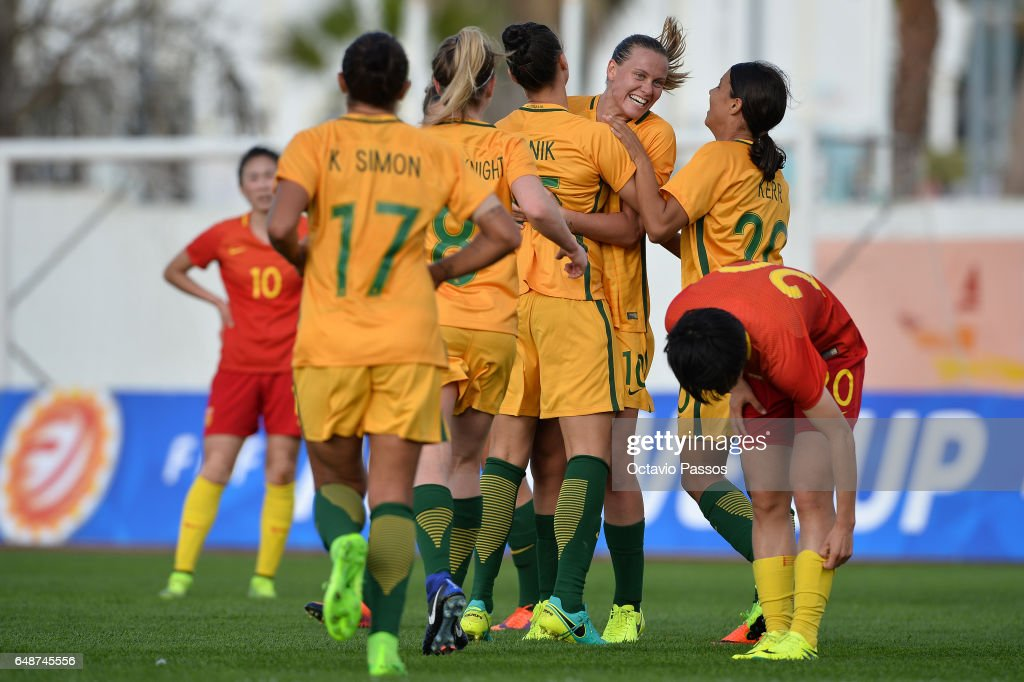 Australia players celebrates after scoring a goal against China during the Women's Algarve Cup Tournament match between China and Australia at Municipal de Albufeira on March 6, 2017 in Albufeira, Portugal.