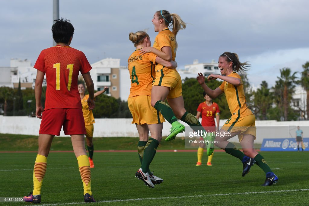 Australia players celebrates after scoring the second a goal against China during the Women's Algarve Cup Tournament match between China and Australia at Municipal de Albufeira on March 6, 2017 in Albufeira, Portugal.