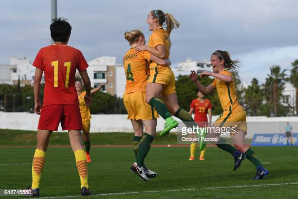 Australia players celebrates after scoring the second a goal against China during the Women's Algarve Cup Tournament match between China and...