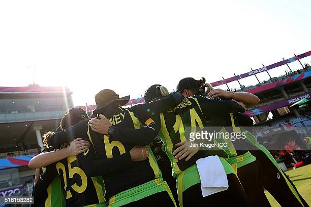 Australia players huddle during the Women's ICC World Twenty20 India 2016 Semi Final match between England and Australia at The Feroz Shah Kotla...