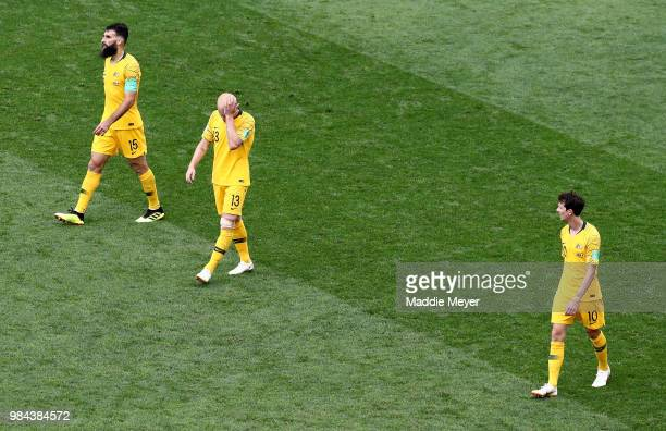 Australia players look dejected during the 2018 FIFA World Cup Russia group C match between Australia and Peru at Fisht Stadium on June 26 2018 in...