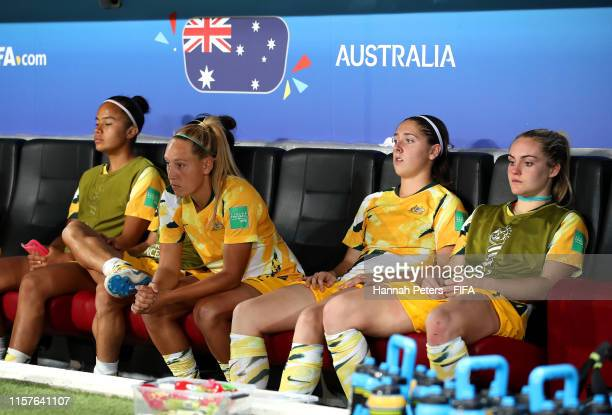 Australia players look dejected following their team's defeat in the penalty shoot out during the 2019 FIFA Women's World Cup France Round Of 16...