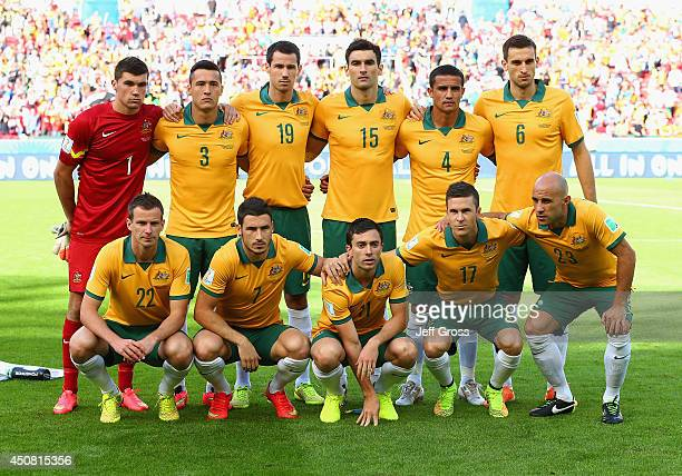 Australia players pose for a team photo before the 2014 FIFA World Cup Brazil Group B match between Australia and Netherlands at Estadio BeiraRio on...