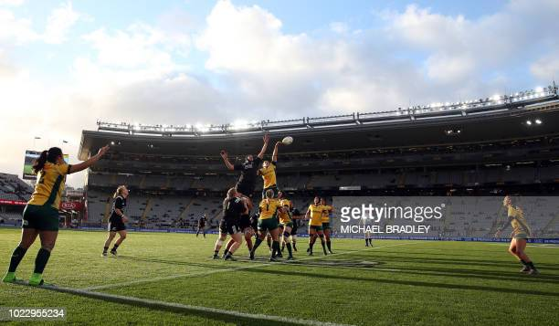 Australia players take the line out during the second women's rugby Test match between New Zealand and Australia at Eden Park in Auckland on August...