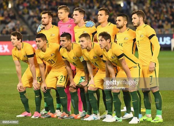 Australia pose during the Brazil Global Tour match between Australian Socceroos and Brazil at Melbourne Cricket Ground on June 13 2017 in Melbourne...