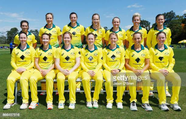 Australia pose for a photo during the Women's One Day International match between Australia and England on October 26 2017 in Coffs Harbour Australia