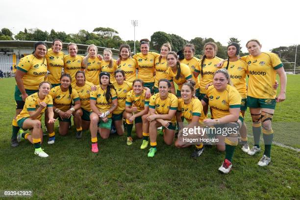 Australia pose for a team photo during the Women's International Test match between the Australian Wallaroos and the England Roses at Porirua Park on...