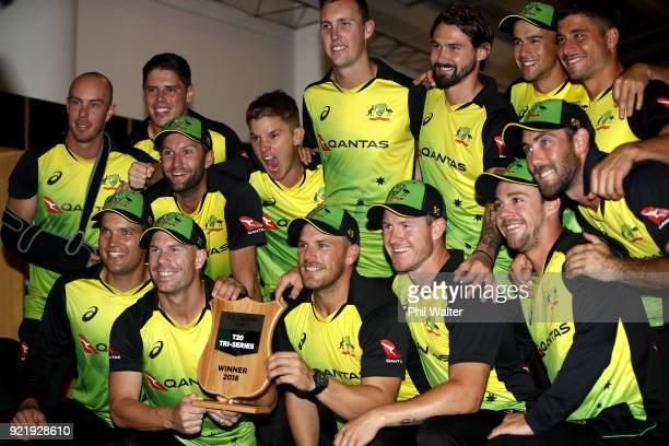 Australia pose with the T20 Tri Series Trophy following the International Twenty20 Tri Series Final match between New Zealand and Australia at Eden...