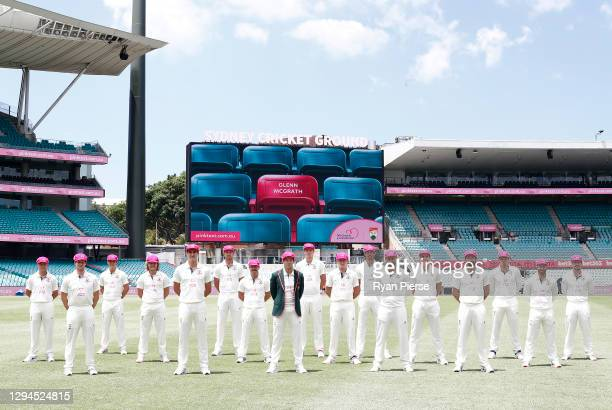 Australia poses for a team photo in their McGrath Foundations Pink Caps during an Australian nets session at the Sydney Cricket Ground on January 05,...