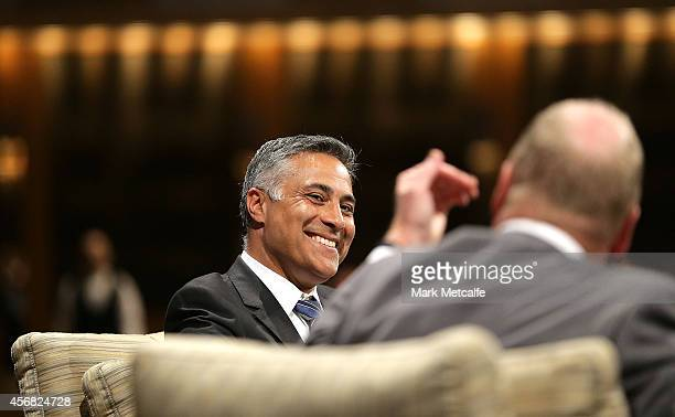 Australia Post CEO Ahmed Fahour speaks during the Sydney FC ALeague season launch at The Westin on October 8 2014 in Sydney Australia
