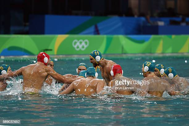 Australia prepare for the start of the Preliminary Round Group A match between Serbia and Australia on Day 7 of the Rio 2016 Olympic Games at the...