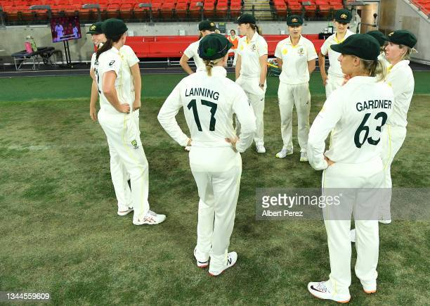 Australia prepare to take to the field after the tea break during day four of the Women's International Test Match between Australia and India at...