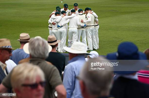 Australia prepare to take to the field during day one of the 4th Investec Ashes Test match between England and Australia at Trent Bridge on August 6...