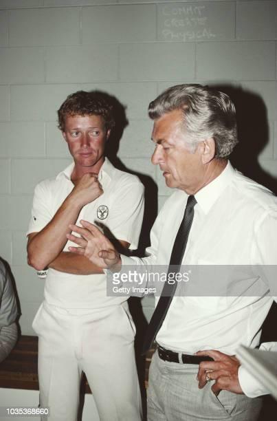 Australia Prime Minister Bob Hawke talks to Australia cricket player Kim Hughes circa 1983 in Australia