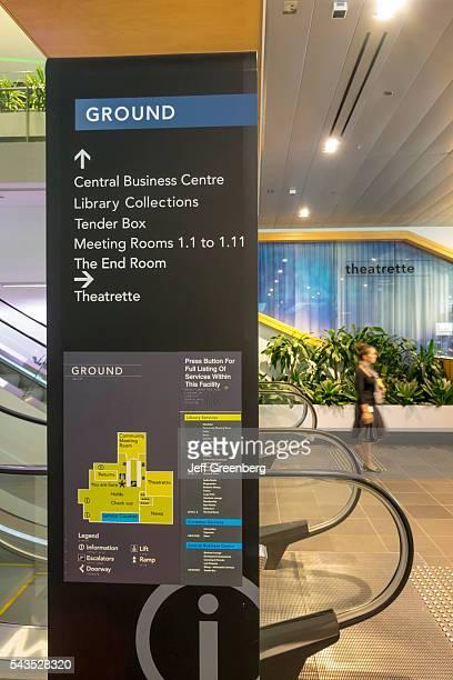 Australia Queensland Brisbane Central Business District Brisbane Square Library inside interior sign information floor plan map