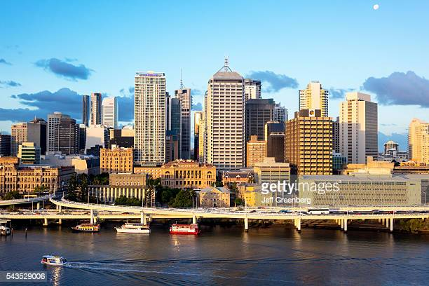Australia Queensland Brisbane Central Business District city skyline skyscrapers buildings view from Southbank Pacific Motorway M3 Brisbane River...