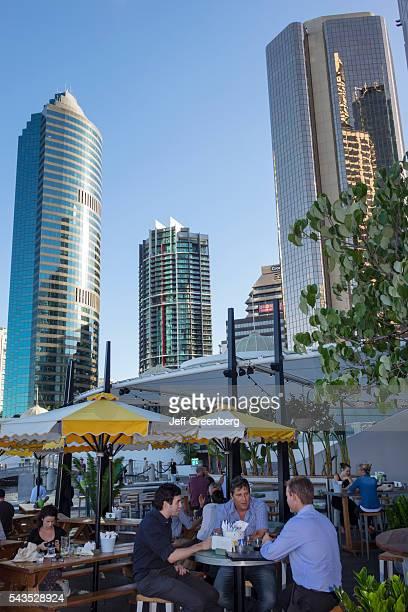 Australia Queensland Brisbane Central Business District Eagle Street Pier Brisbane River Riverside Center office buildings skyscrapers city skyline...